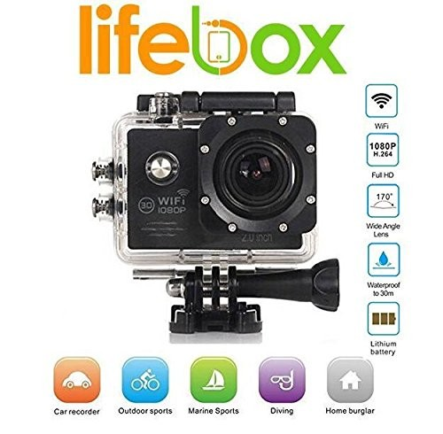 "LifeBox Warrior WiFi Black 1080P 2.0"" LCD Full HD Water Resistance Action Camera"