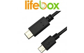 LifeBox USB 3.1 Type C USB C to Micro USB 5PIN Male Data Sync Cable (3.3 ft / 1m)