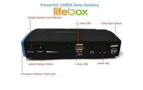 LifeBox UltraCharge 16800 mAh USB Portable Power Bank and Car Jump Starter